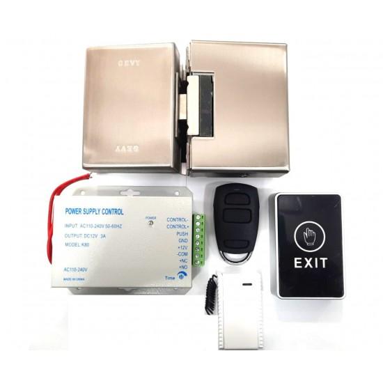 Σετ Ηλεκτρική Κλειδαριά Γυάλινης πόρτας με Τροφοδοτικό, Τηλεκοντρόλ και Μπουτόν εξόδου - Access Control