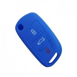 Θήκη Σιλικόνης Κλειδιού Αυτοκινήτου Citroen-Peugeot με 3 κουμπιά αναδιπλούμενο - Μπλε