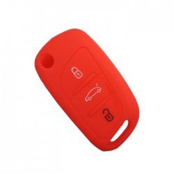Θήκη Σιλικόνης Κλειδιού Αυτοκινήτου Citroen-Peugeot με 3 κουμπιά αναδιπλούμενο - Κόκκινη